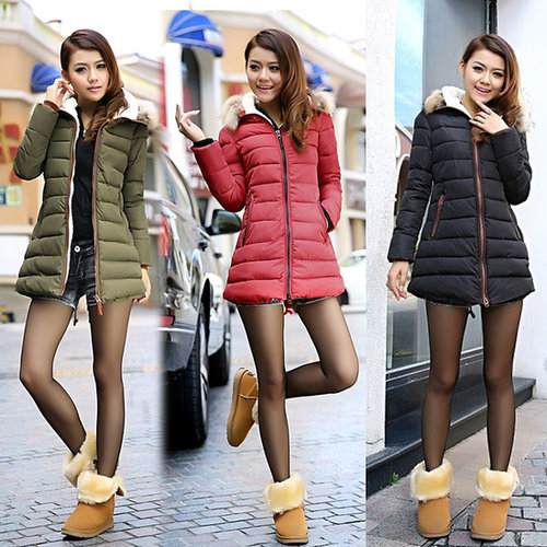 Discount Korean Fashion fur hooded slim thick outerwear Down & Parkas coat in women down parkas on sightface.com