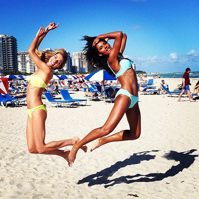 Models Jessica Hart and Emanuela de Paula got some air in their bikinis during a Miami Beach photo shoot. Source: Instagram user 1jessicahart