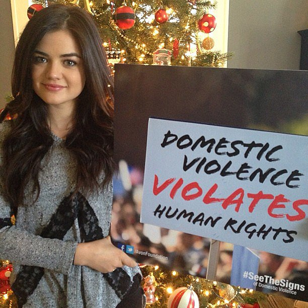 Lucy Hale helped support the Avon Foundation's domestic violence prevention campaign. Source: Instagram user lucyhale