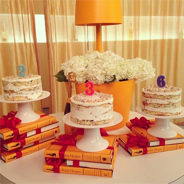 Fancy confetti cakes and a little Champagne were the perfect treats to celebrate Madame Cliquot's 236th birthday. Source: Instagram user purseblog