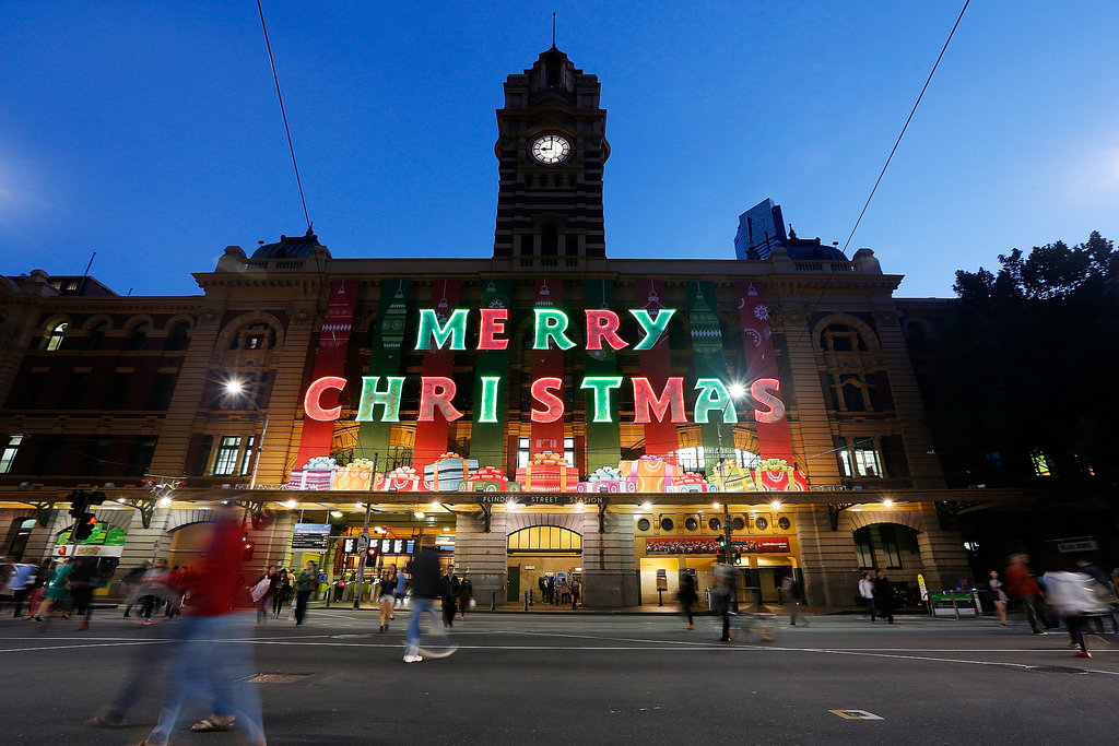 Holiday decorations made their way to the Flinders Street train station in Melbourne, Australia.