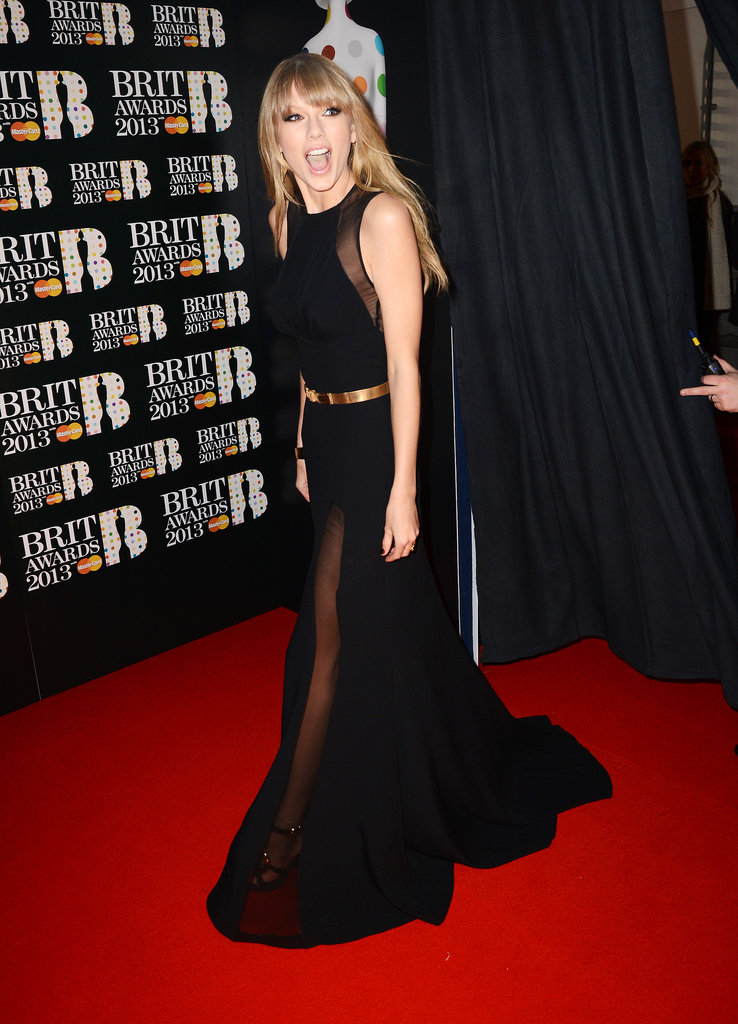 Taylor looked shocked at the number of fans that greeted her at the Brit Awards in London back in February 2013.