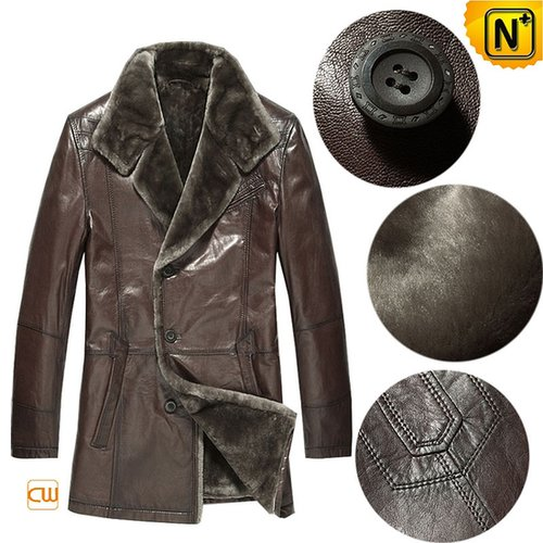 Mens Leather Coat Fur Lining CW868829