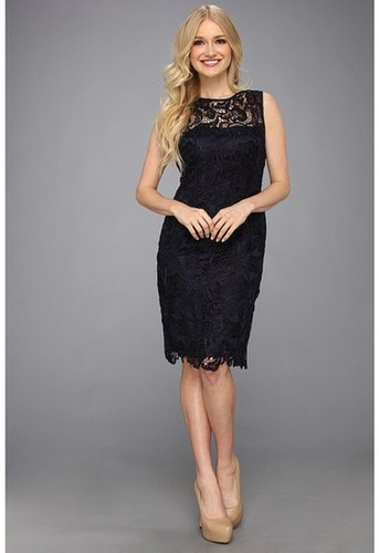 Adrianna Papell - Illusion Neck Lace Dress (Navy) - Apparel