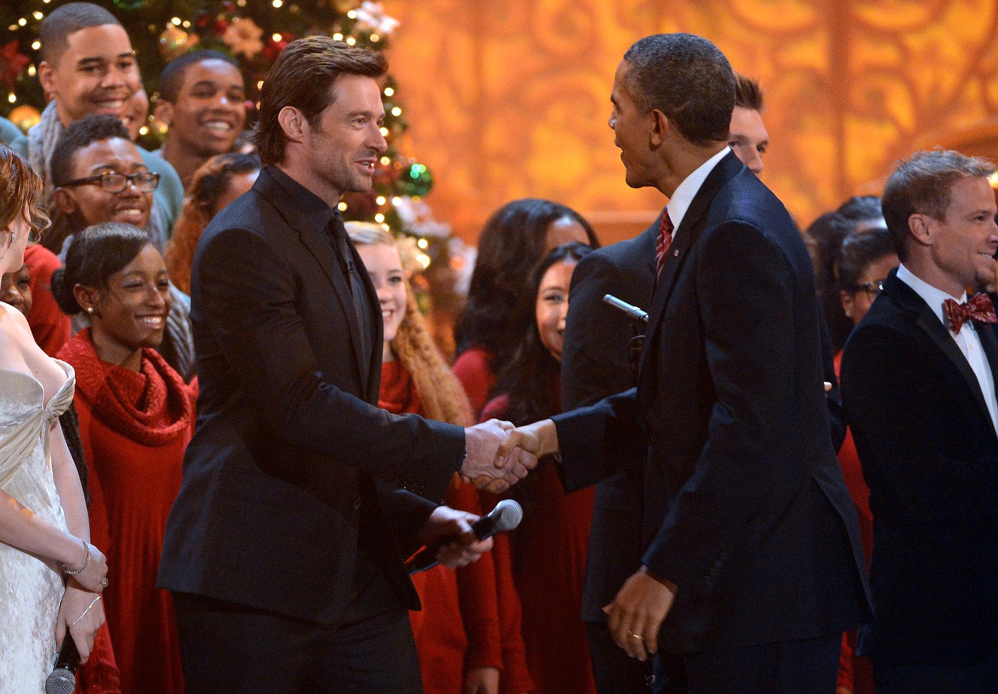 Hugh Jackman shook hands with President Obama.