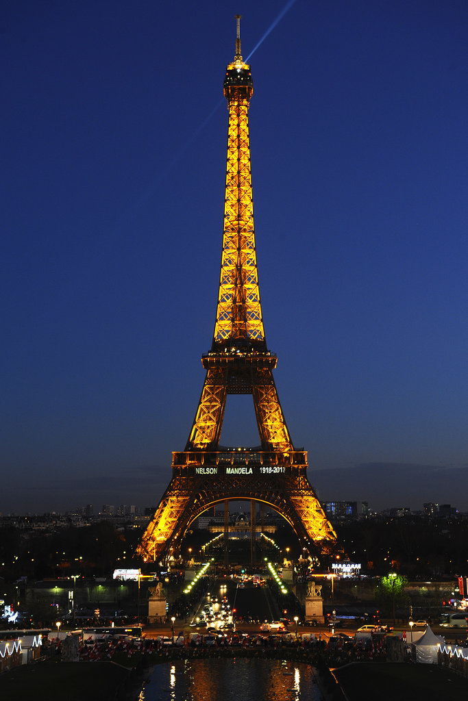The Eiffel Tower was lit in tribute to Nelson Mandela.