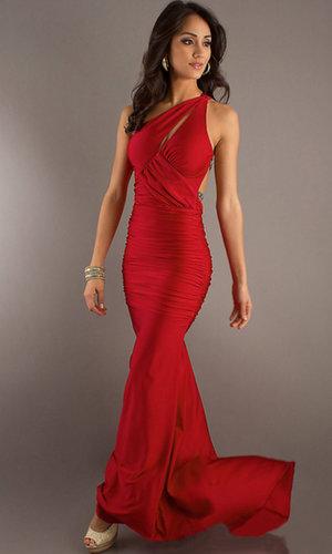 Prom Dresses Red Sheath One Shoulder Chiffon Sweep Train