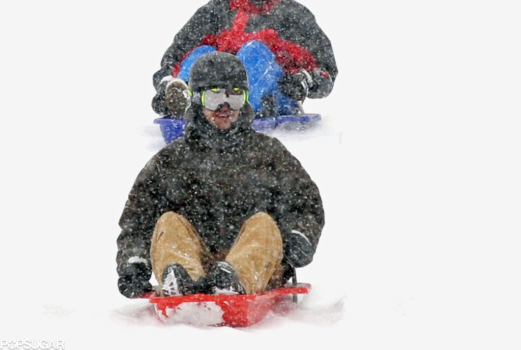 Justin Timberlake sled through heavy snow in Switzerland in 2010.