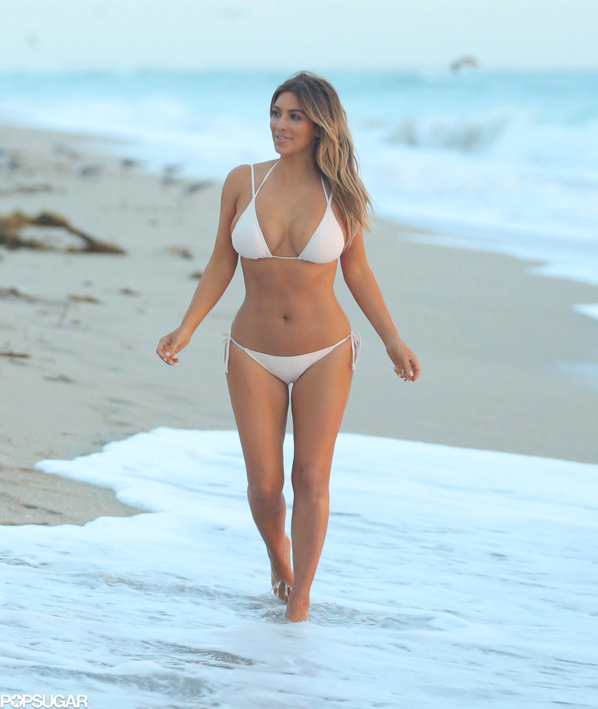 Kim dipped her toes in the water.