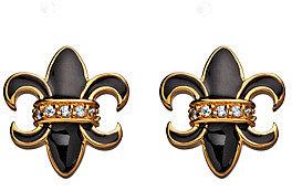 Belargo Gold Crystal And Black Enamel Fleur De Lis Stud Earrings