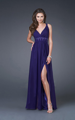 Prom Dresses Sheath Slit V Neck Halter Floor Length Chiffon