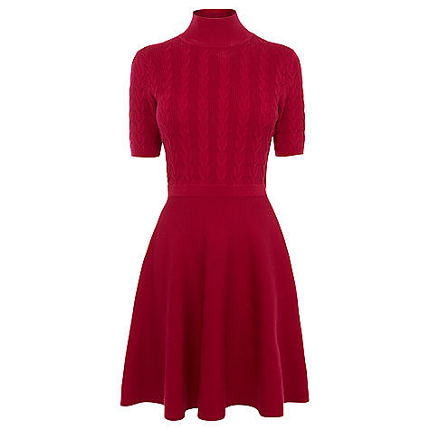 Oasis Cable Polo Dress , Bright Pink
