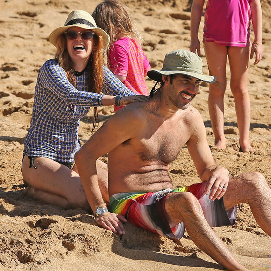 Isla Fisher and Sacha Baron Cohen on the Beach in Hawaii
