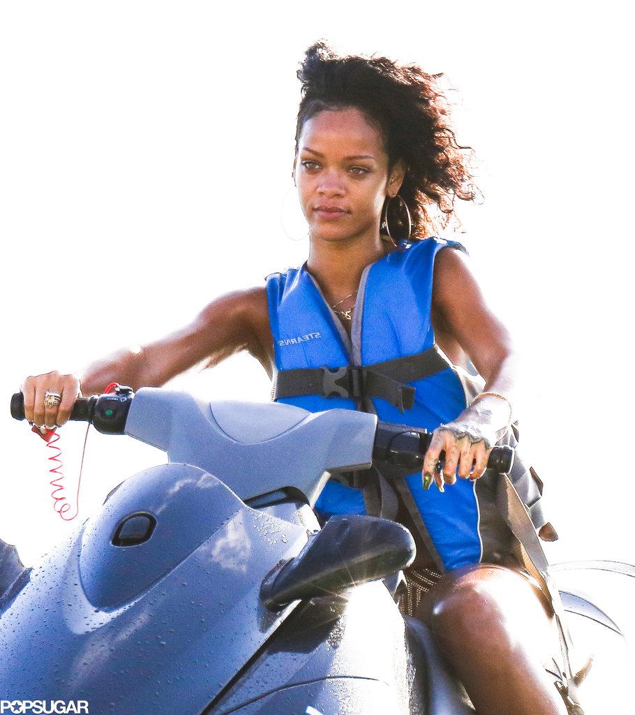 Rihanna hopped onto a Jet Ski.