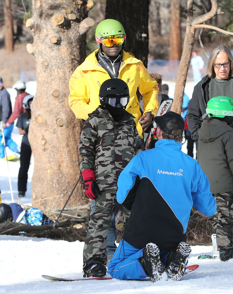 Seal brought his son, Henry Samuel, to skiing class.