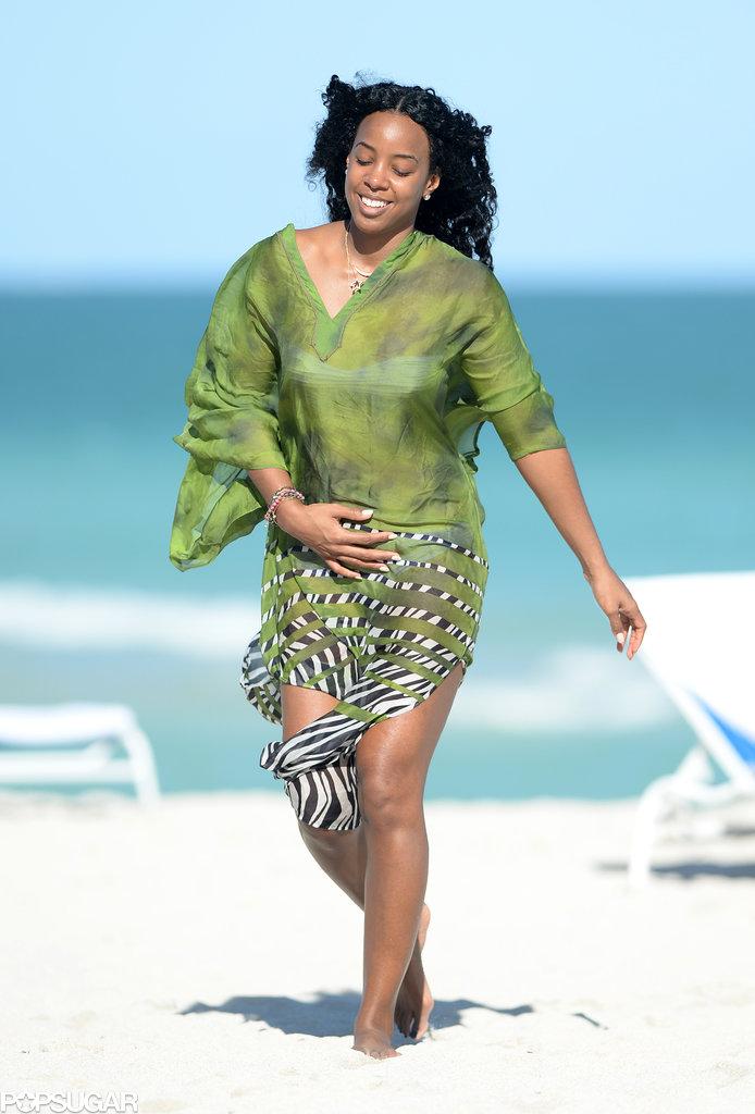 Kelly walked on the beach.