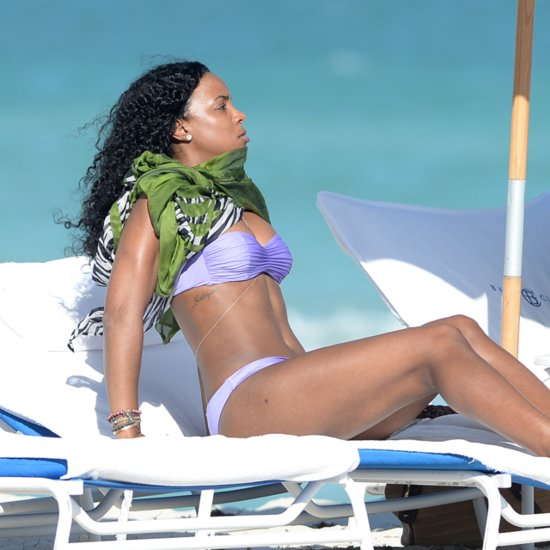 Kelly Rowland Wearing a Bikini on the Beach in Miami