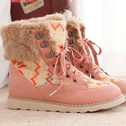 Image of [grxjy5190305]Lace Up Mixed Colors Splicing Snowflakes Ankle Boots Sneaker Padded Shoes