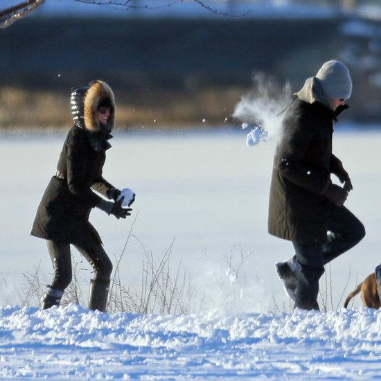 Gisele Bundchen and Tom Brady Have a Snowball Fight