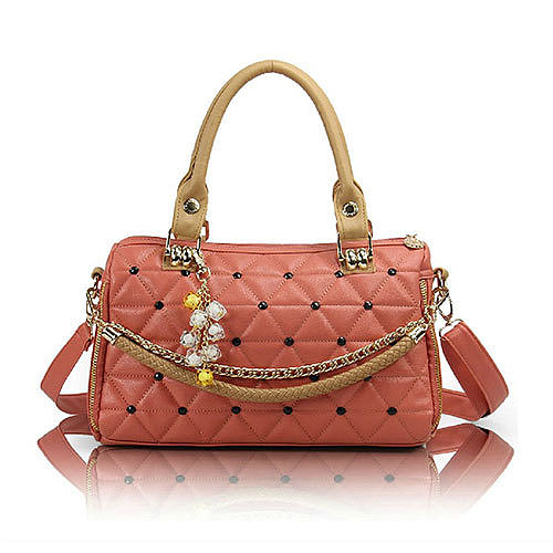 Image of [grzxy62000218]Candy Colors Quilted Pendant Chain Shoulder Messenger Bag Handbag