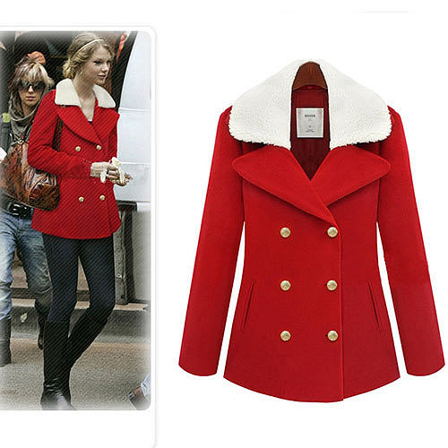 Image of [grxjy560778]Fashion Split Notched Collar Double Breast Christmas Red Coat Overcoat