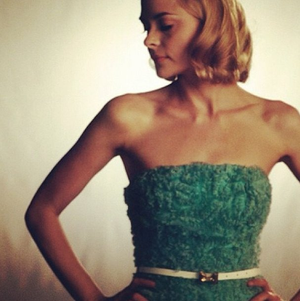 Jaime King had a '50s prom flashback in a frilly teal dress. Source: Instagram user jaime_king