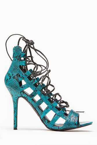 Wild Diva Virgo Open Toe Caged Turqoise Lace Up Heels @ Cicihot Heel Shoes online store sales:Stiletto Heel Shoes,High Heel Pump