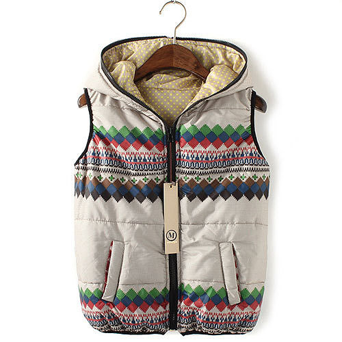 Image of [grxjy560800]Polka Dots Tribal Patterns Sleeveless Down Jacket Hooded Vest Coat