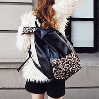 cool fashion pu Leopard  rivet Backpack/bag - Thumbnail 1