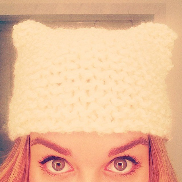 Lauren Conrad figured out how to knit a hat with cat ears. Source: Instagram user laurenconrad