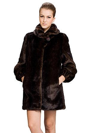 Jamie/faux dark brown mink fur with fold collar/middle fur coat