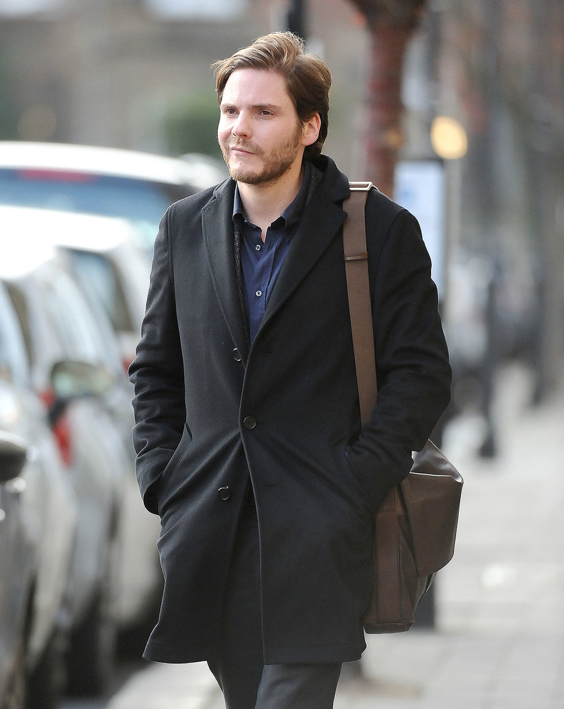 Daniel Brühl hit the London sidewalks to film a scene for The Face of an Angel on Monday.