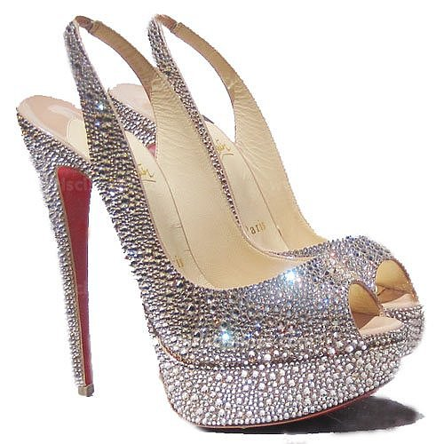 Lady Peep Toe Strass Light Christian Louboutin Slingbacks Peach for Cheap