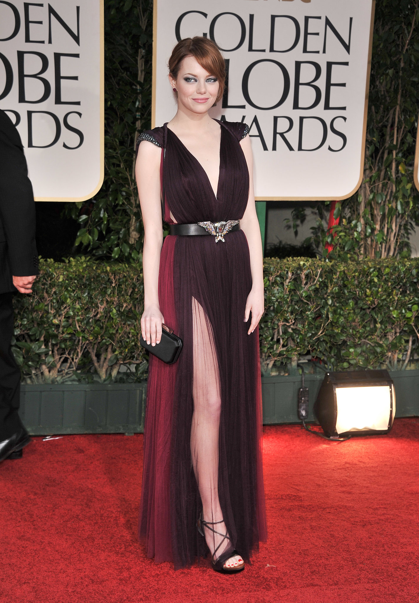 Emma Stone showed some serious leg on to 2012 red carpet.