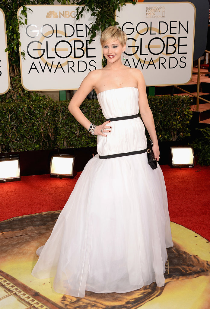 Jennifer Lawrence looked stunning in a white Dior gown.