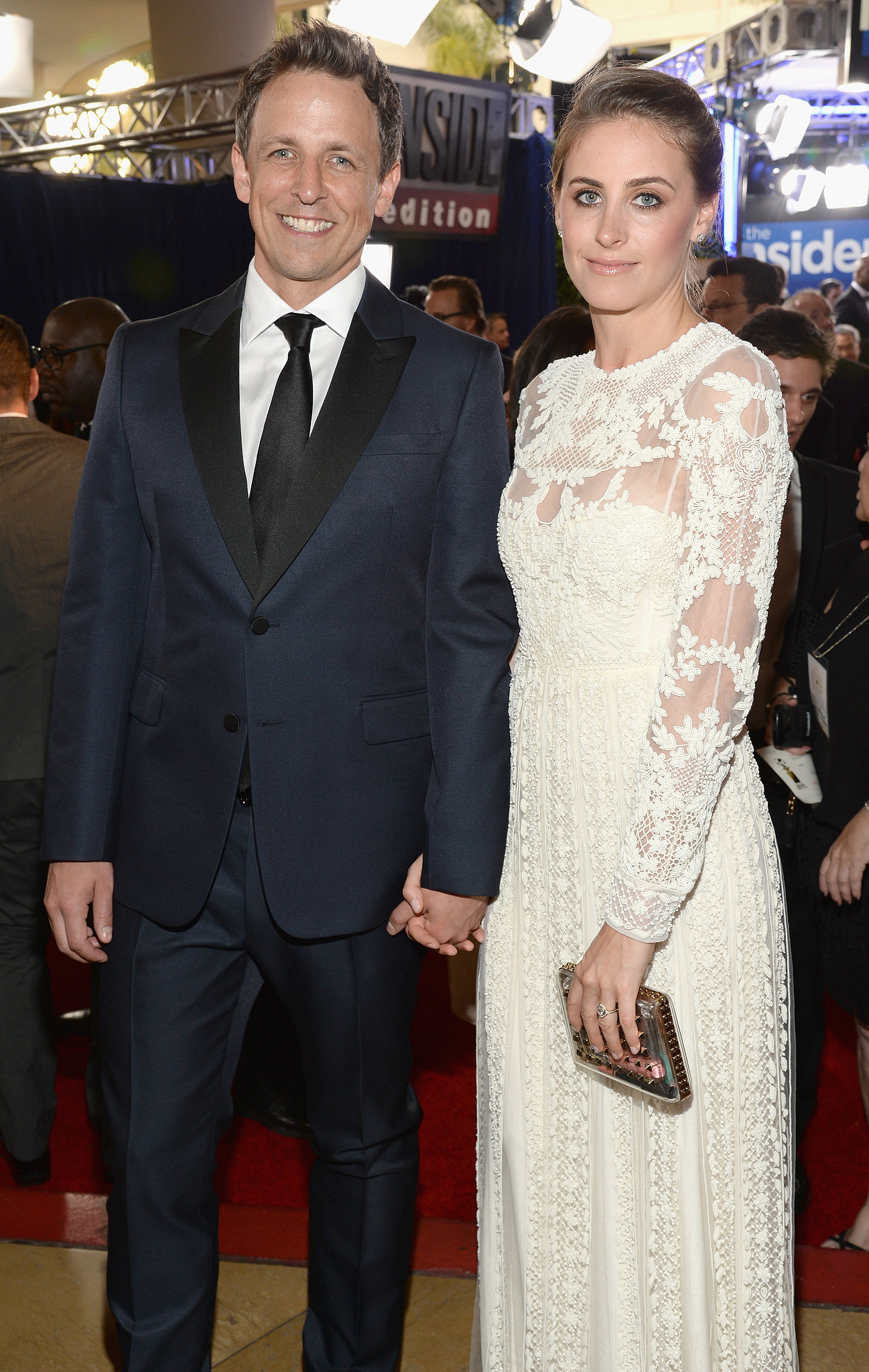 Seth Meyers and Alexi Ashe attended the Globes.