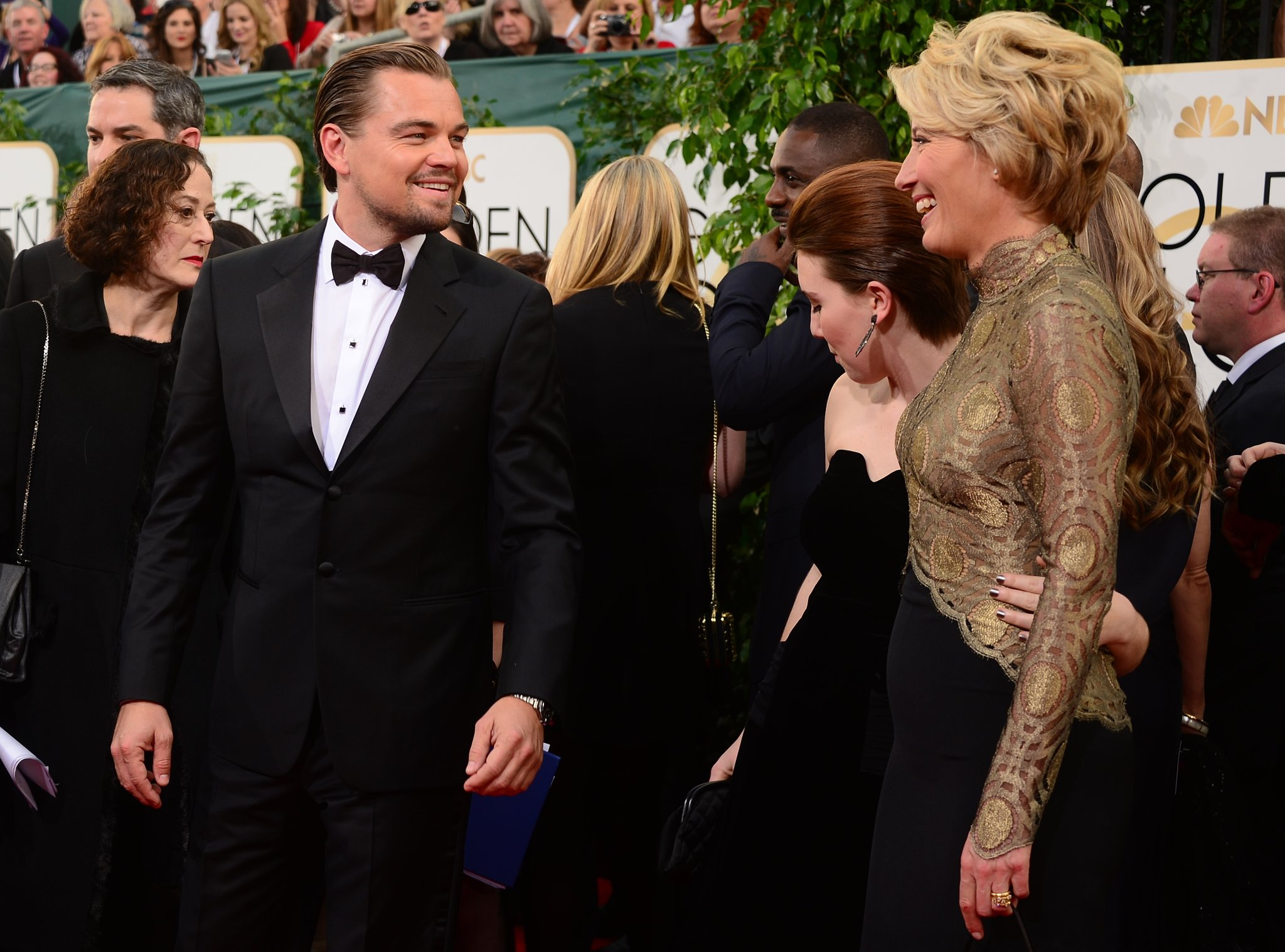 Leo said hi to Emma Thompson and her daughter on the carpet.