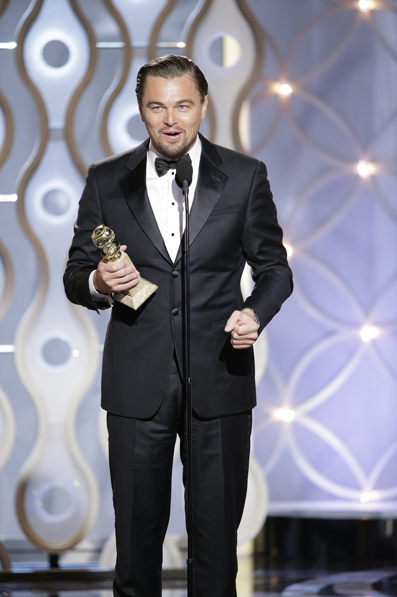 Leo took the stage to accept his best actor statue.