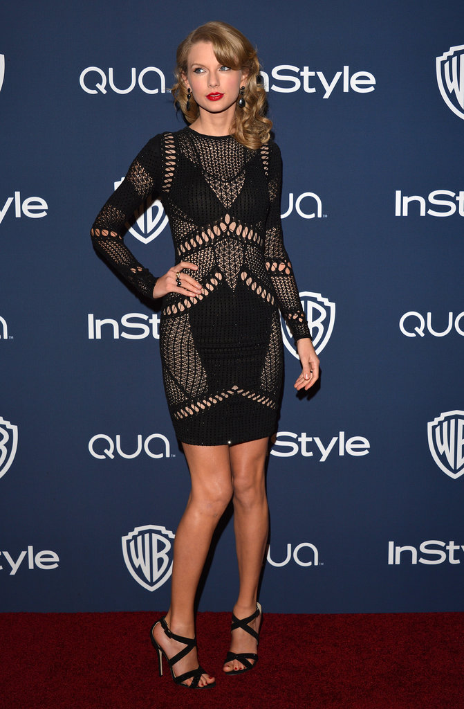 Taylor Swift rocked a short, rocker-chic dress for her night out after the Golden Globes.