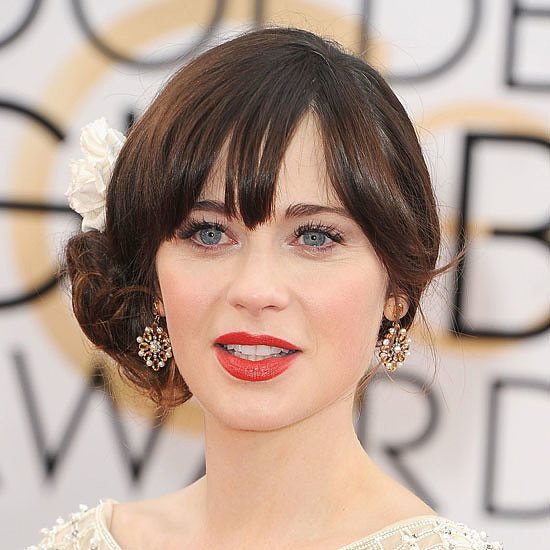 Zooey Deschanel Flower in Hair at the 2014 Golden Globes
