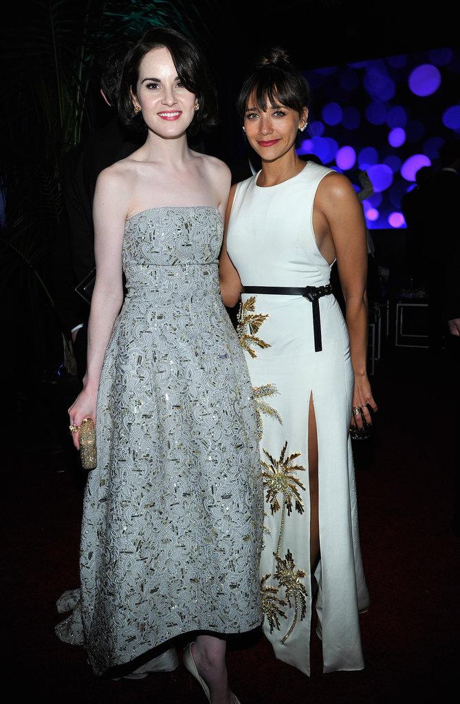 Michelle Dockery and Rashida Jones mingled inside.