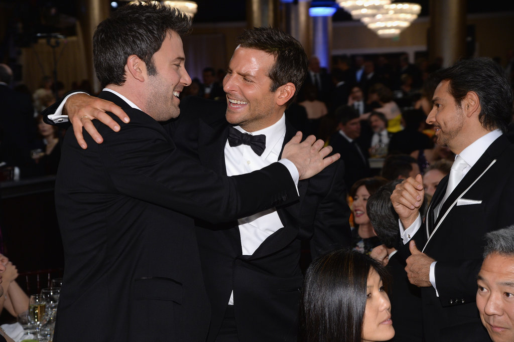 Bradley Cooper shared a hug and a laugh with Ben Affleck during a commercial break. Source: Larry Busacca/NBC/NBCU Photo Bank/NBC
