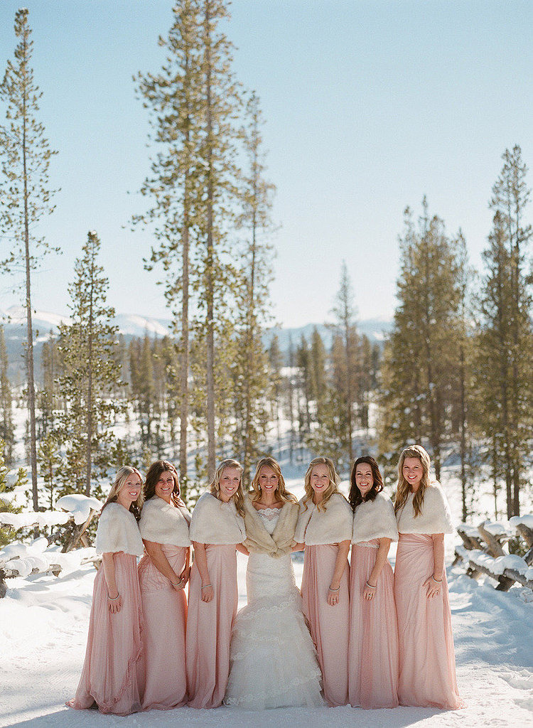 Fur shawls for the bridal party 33 ways to keep everyone for Bridesmaid dresses for a winter wedding