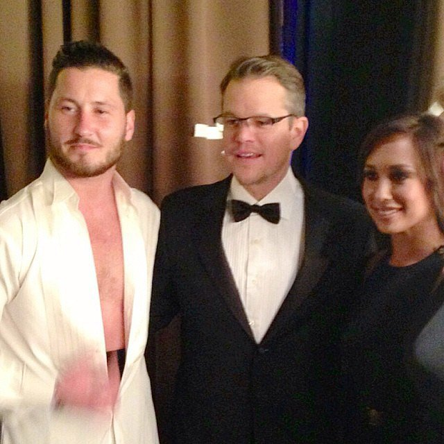 Matt Damon posed for photos with Dancing With the Stars' Cheryl Burke and Val Chmerkovskiy before their performance at the UNICEF Ball. Source: Instagram user cherylburke