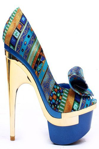 TURQUOISE MULTI PRINTED FABRIC DOUBLE PLATFORM PUMPS HEELS