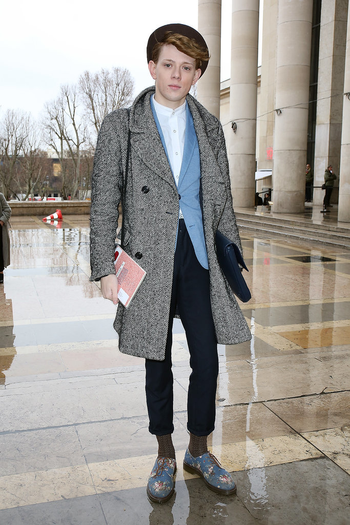 Totally adorable from his schoolboy blazer to his floral brogues.
