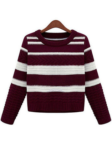Striped Pattern Knitting Sweater