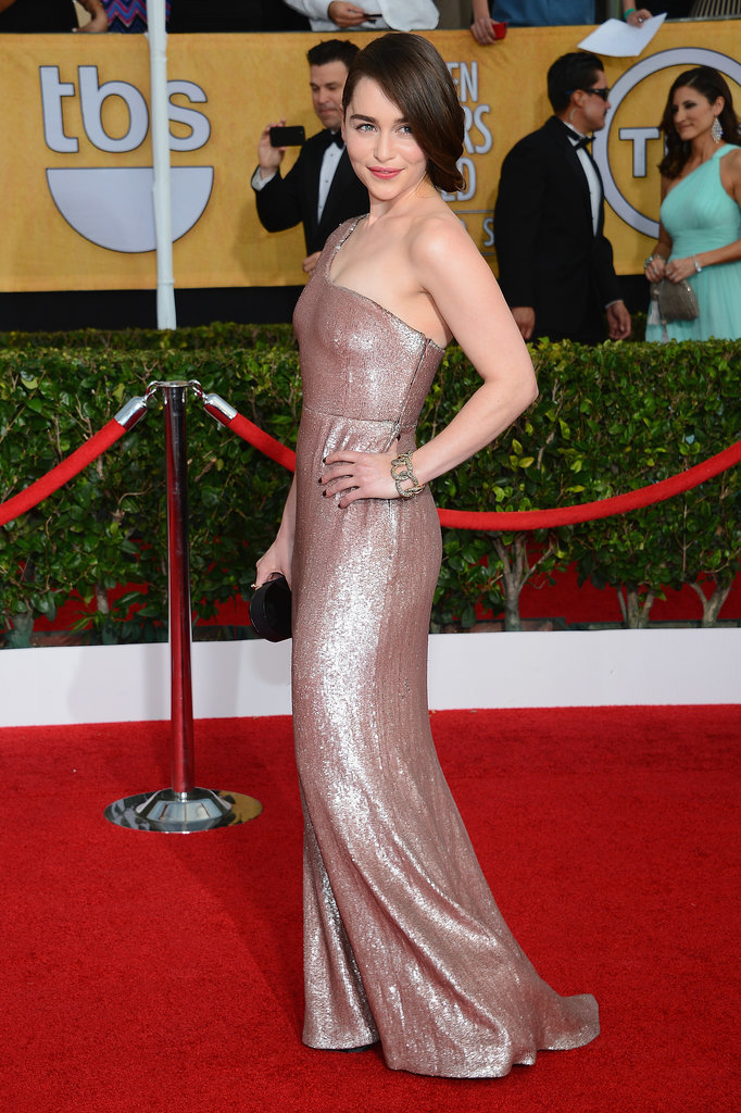Emilia Clarke Channels Khaleesi at the SAG Awards