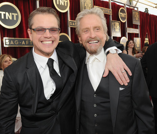 Matt Damon and Michael Douglas got excited about their Behind the Candelabra nomination before the SAG Awards.