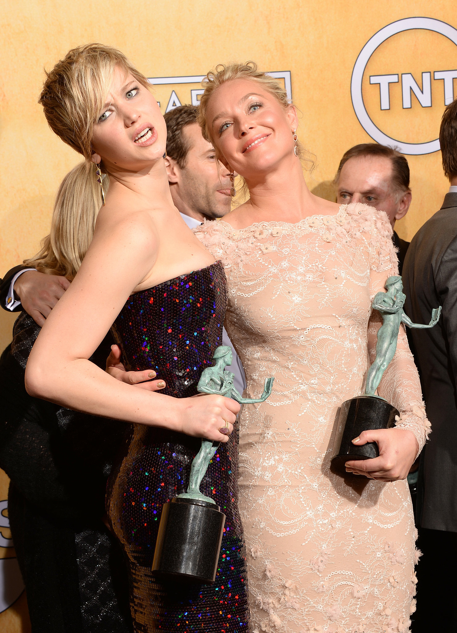 Jennifer Lawrence and Elisabeth Rohm showed off their statues at the SAG Awards.